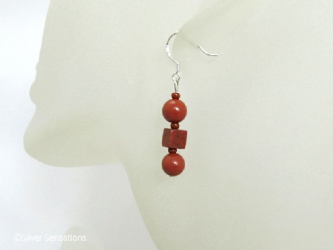 Red Jasper Rounds & Square Cube Sterling Silver Earrings